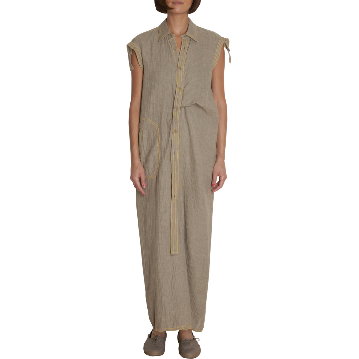 yohji yamamoto one piece jumpsuit in beige brown lyst. Black Bedroom Furniture Sets. Home Design Ideas