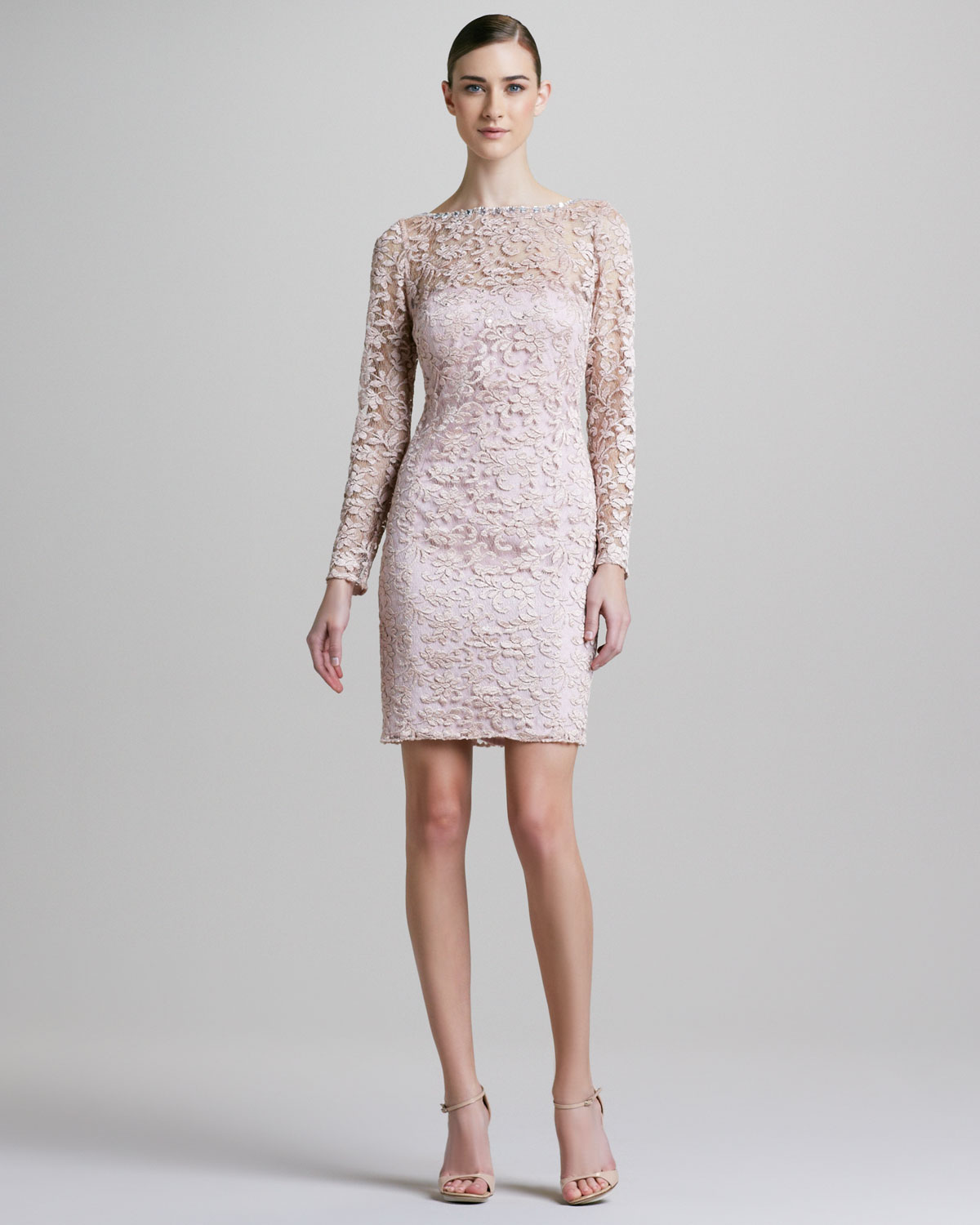 Lyst - Aidan Mattox Longsleeve Laceoverlay Cocktail Dress in Pink