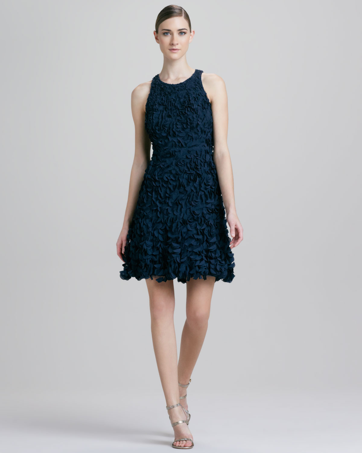 Theia Petal Sleeveless Cocktail Dress in Blue  Lyst
