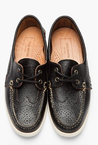 Thom Browne Black Leather Brogue Deck Shoes In Black For