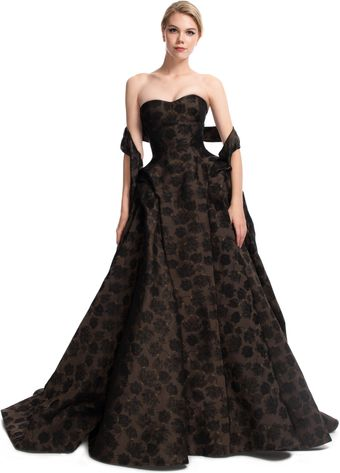 Zac Posen Attached Sash Novelty Ball Gown - Lyst