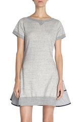 Sacai Peplum Back Short Sleeve Dress - Lyst