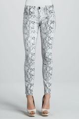 7 For All Mankind Snakeprint Skinny Jeans - Lyst