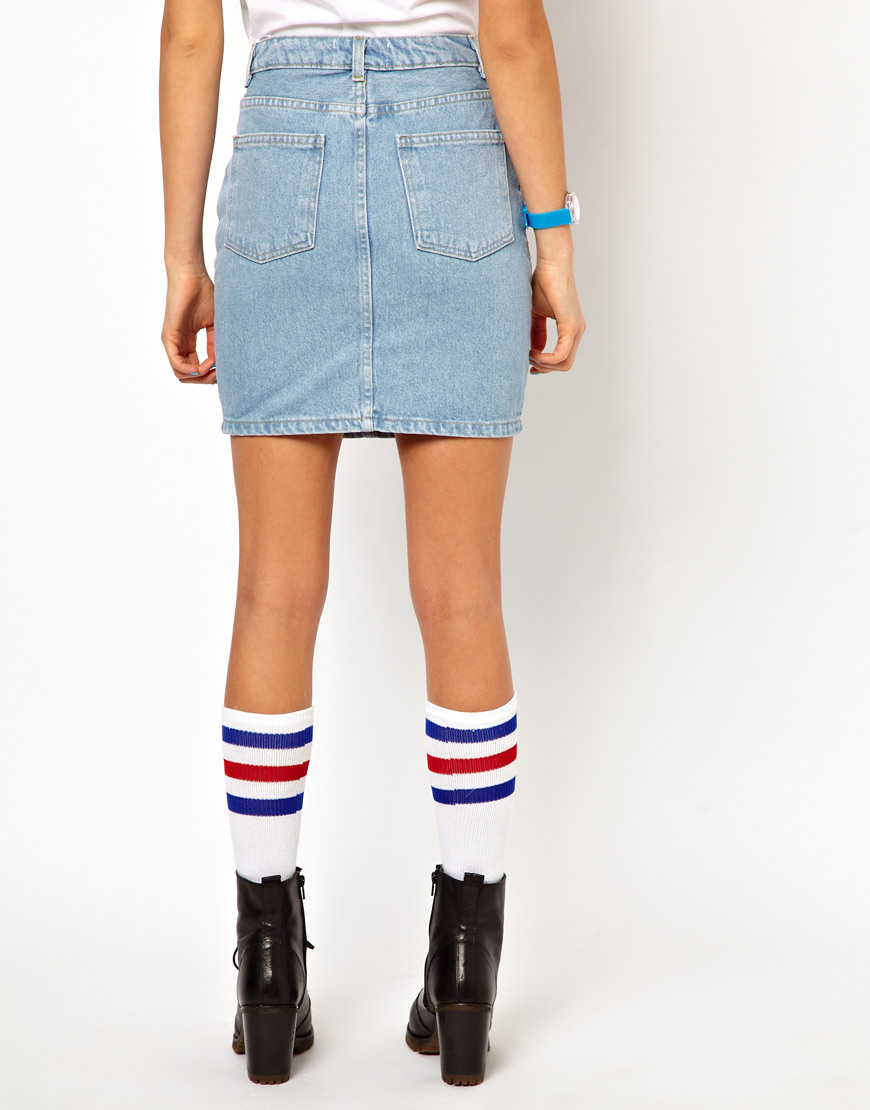 american apparel high waisted denim mini skirt in blue lyst
