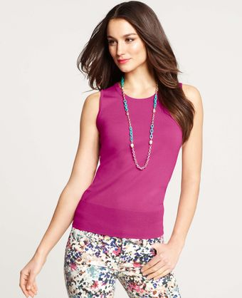 Ann Taylor Jewel Neck Shell - Lyst
