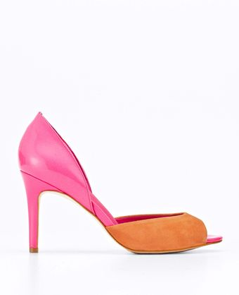 Ann Taylor Perfect Colorblocked Dorsay Patent Leather and Suede Peeptoe Heels - Lyst