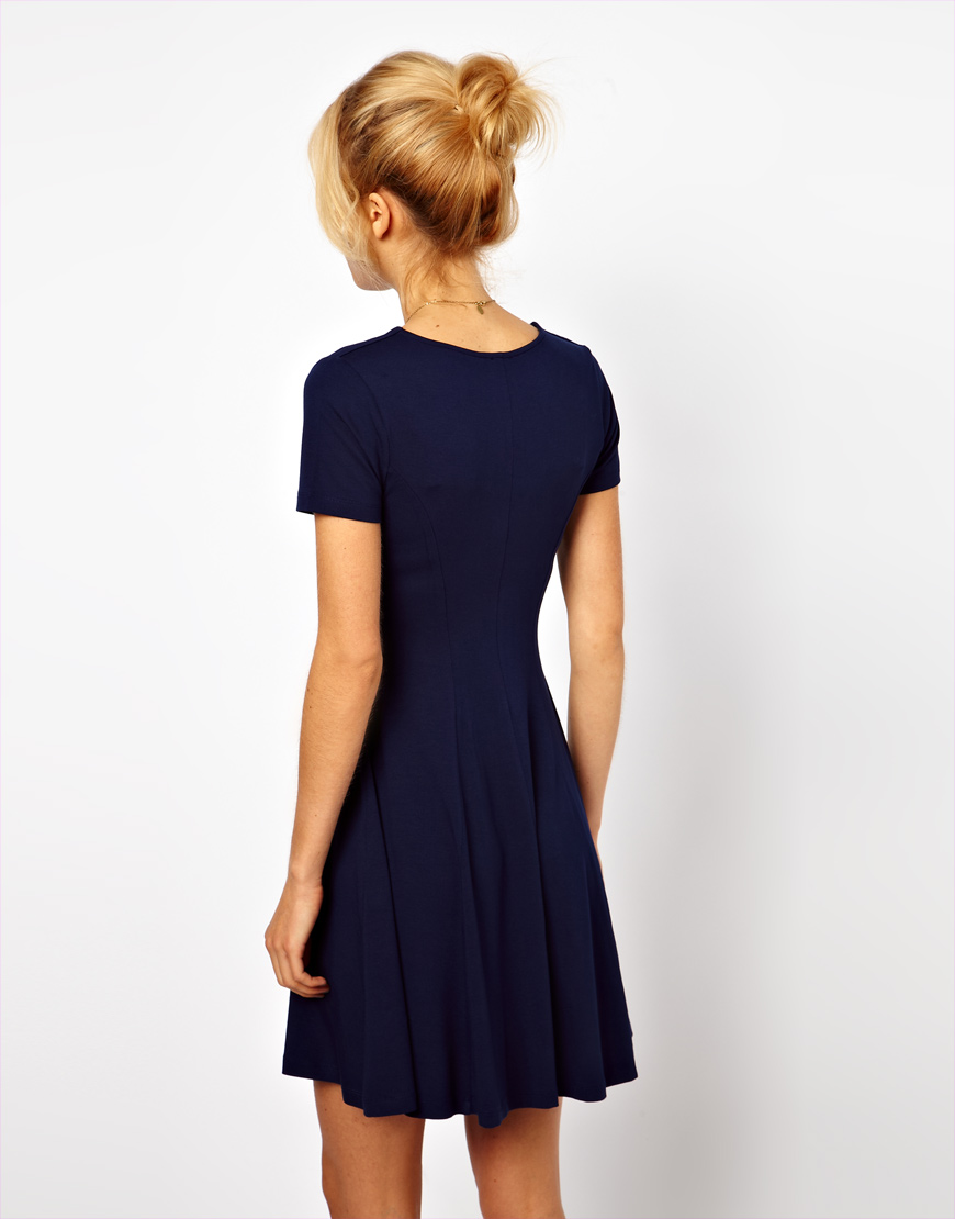 Asos Collection Skater Dress With V Neck And Short Sleeves