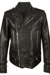 Balmain Distressed Biker Jacket - Lyst