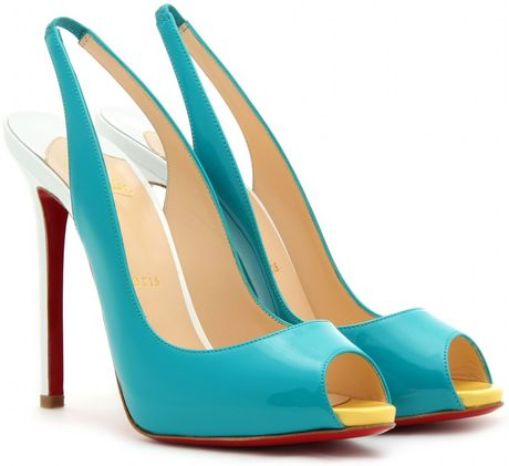 Christian Louboutin Patent Leather Peep Toe Pumps in Blue (turquoise)