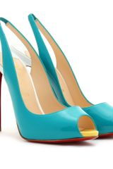 Christian Louboutin Patent Leather Peep Toe Pumps in Blue (turquoise) - Lyst