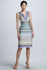 David Meister Stripepattern Sleeveless Dress - Lyst