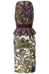 Giambattista Valli Contrasting Floral Printed Cotton Dress - Lyst