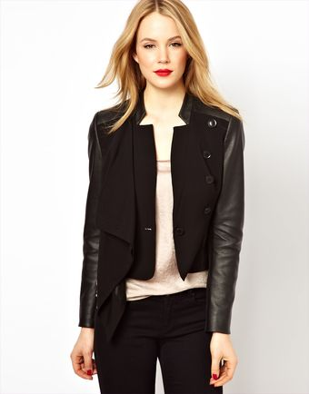 Karen Millen Tailored Jacket with Leather Look Sleeves - Lyst