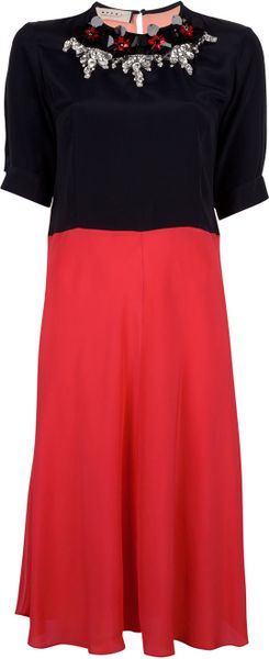 Marni Embellished Crepe Dress in Red (black) - Lyst