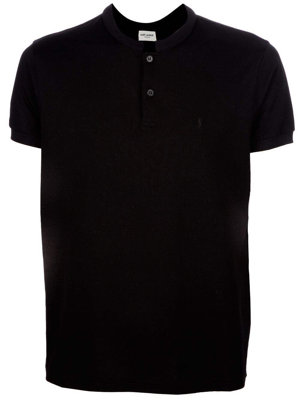 Saint laurent fitted collar less polo shirt in black for for Black fitted polo shirt