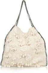 Stella Mccartney Falabella Large Crocheted Shoulder Bag in Beige (cream) - Lyst