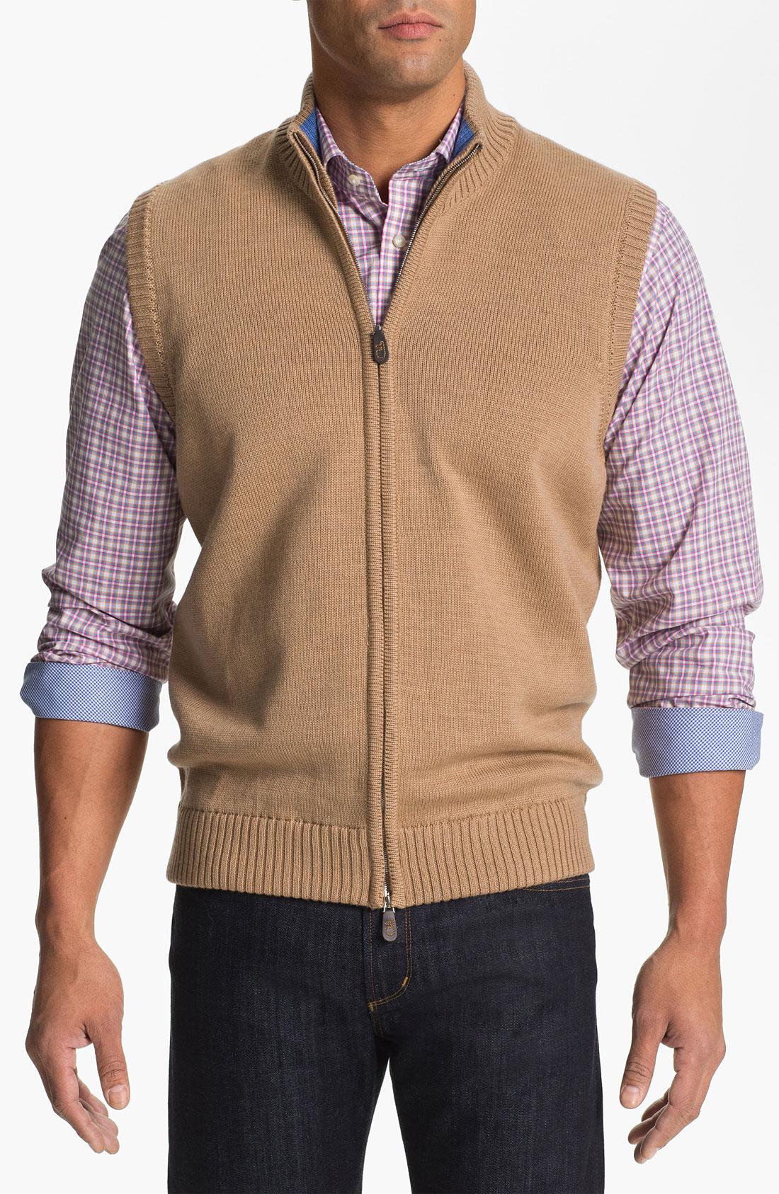 Thomas dean Zip Front Wool Sweater Vest in Brown for Men | Lyst