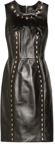 Versace Cutout Leather Dress - Lyst