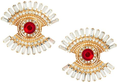 Asos Intricate Eye Earrings in Gold (crystal) - Lyst