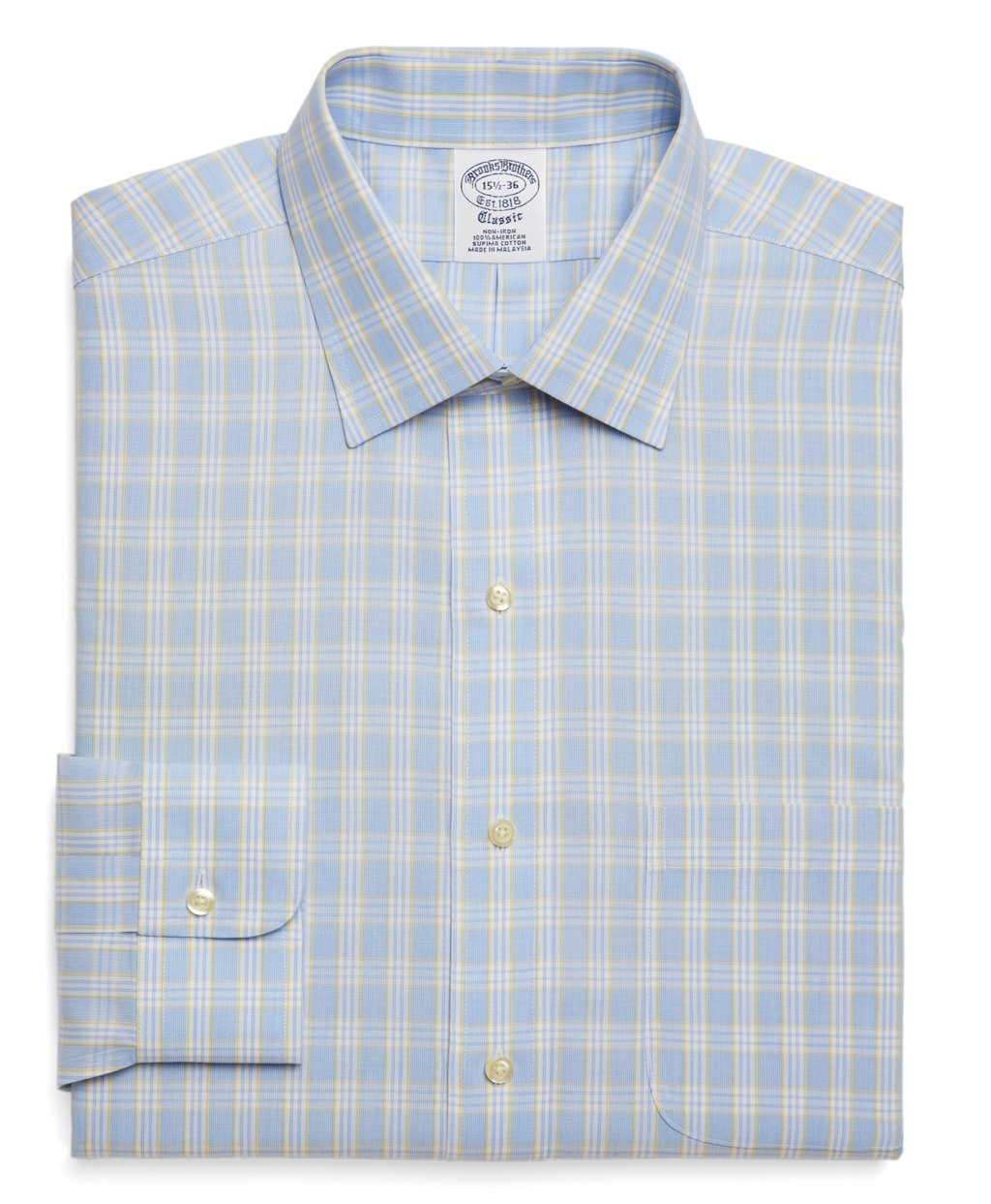 7ef74f15f4c9 Brooks Brothers Supima Cotton Noniron Slim Fit Glen Plaid Dress ...