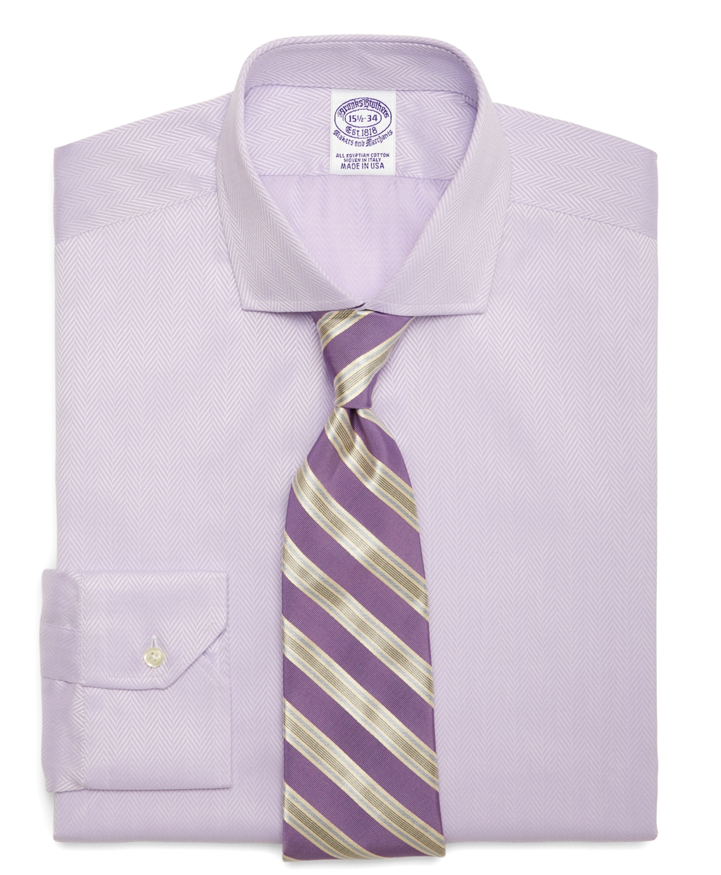 Brooks brothers egyptian cotton slim fit solid herringbone for Mens egyptian cotton dress shirts
