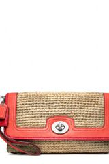 Coach Straw Large Flap Clutch - Lyst