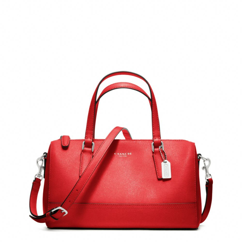 89bafd65ddd5 ... real lyst coach saffiano leather mini satchel in red 43fdc db2c5