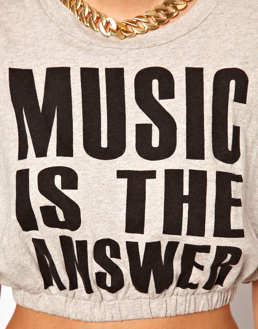 143312cfeaa72 Lyst - Glamorous Music Crop T Shirt in Gray