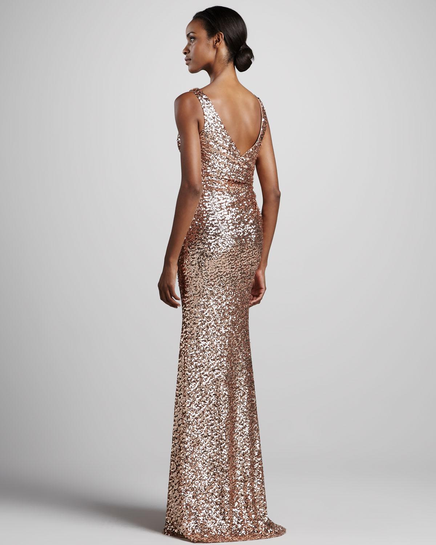 Lyst - Badgley mischka Sleeveless Vneck Sequined Gown in Metallic