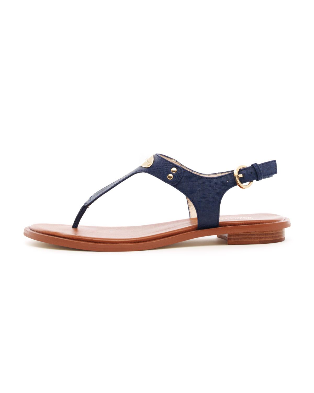 Lyst Michael Kors Flat Tstrap Thong Sandal In Blue
