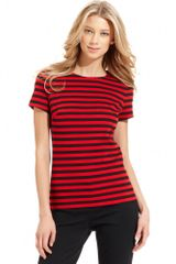Michael Kors Short Sleeve Striped Knit - Lyst