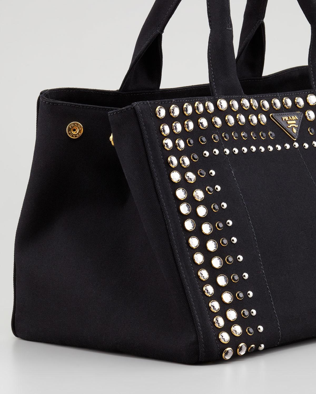 a5e19ae02186 6beca d9152  best price lyst prada studded canvas gardeners tote bag in  black bf21a f0fbf