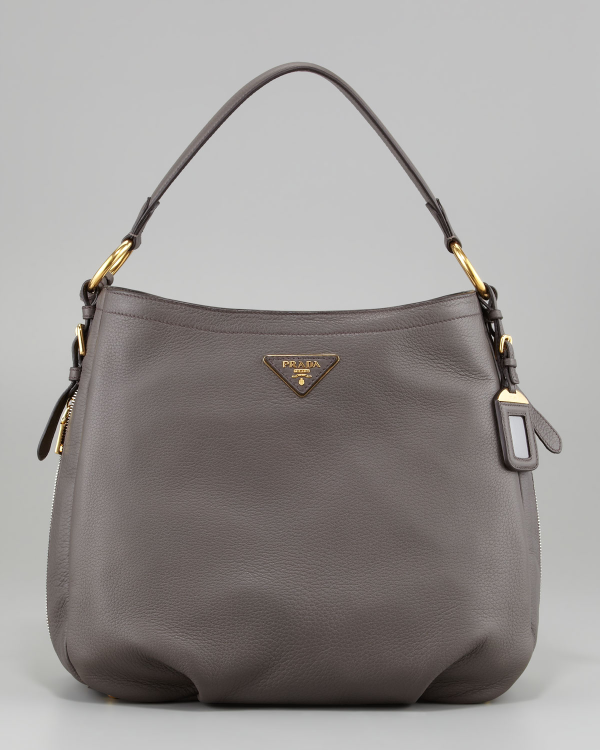 b58e0505455d19 Prada Cervo Hobo Bag in Gray (dark grey) | Lyst. Prada Black Vitello Daino  Leather Zip-Top Hobo Bag BR4311 .