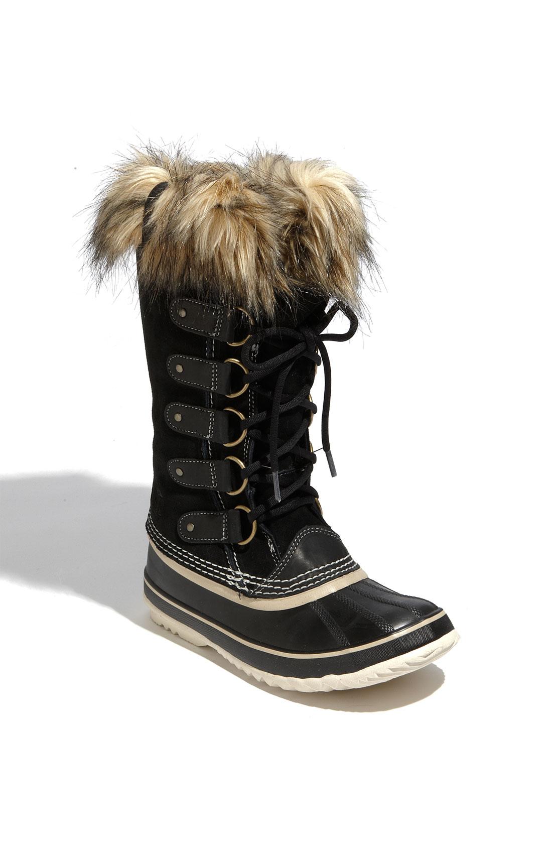 sorel joan of arctic faux fur waterproof boots in black. Black Bedroom Furniture Sets. Home Design Ideas