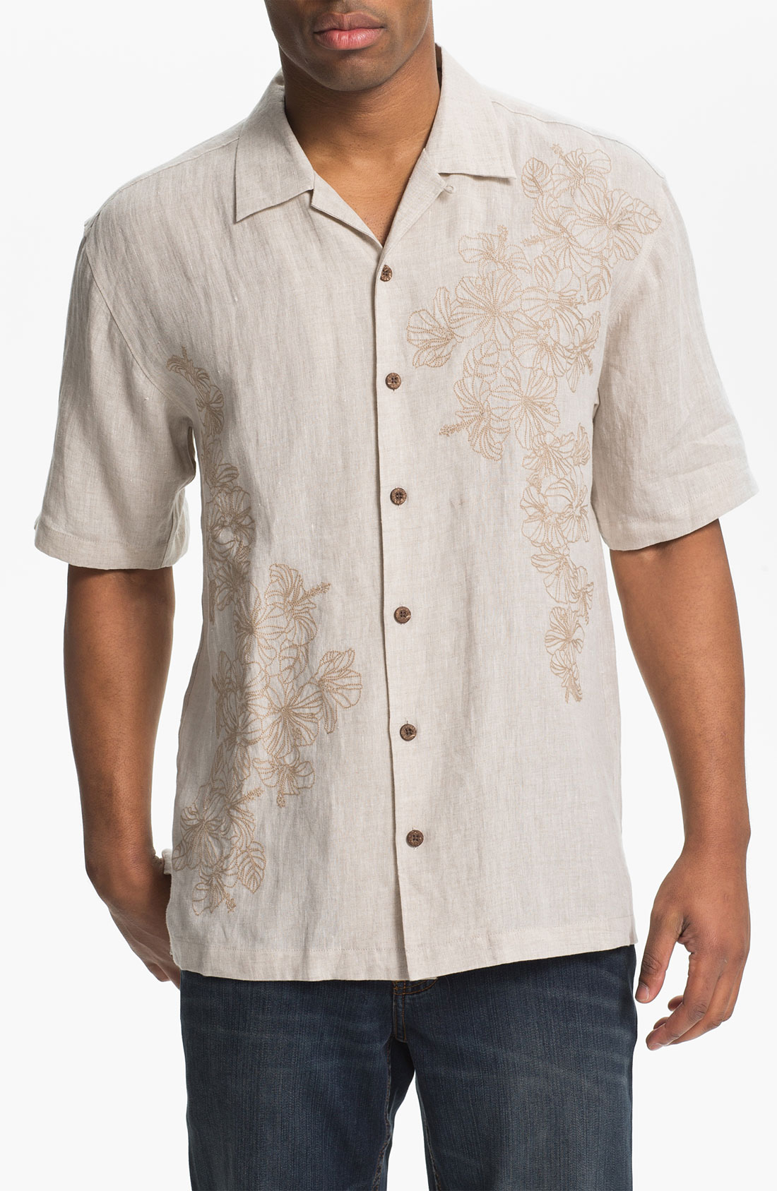 Tommy bahama fantastic florals linen campshirt in gray for for Tommy bahama florida shirt