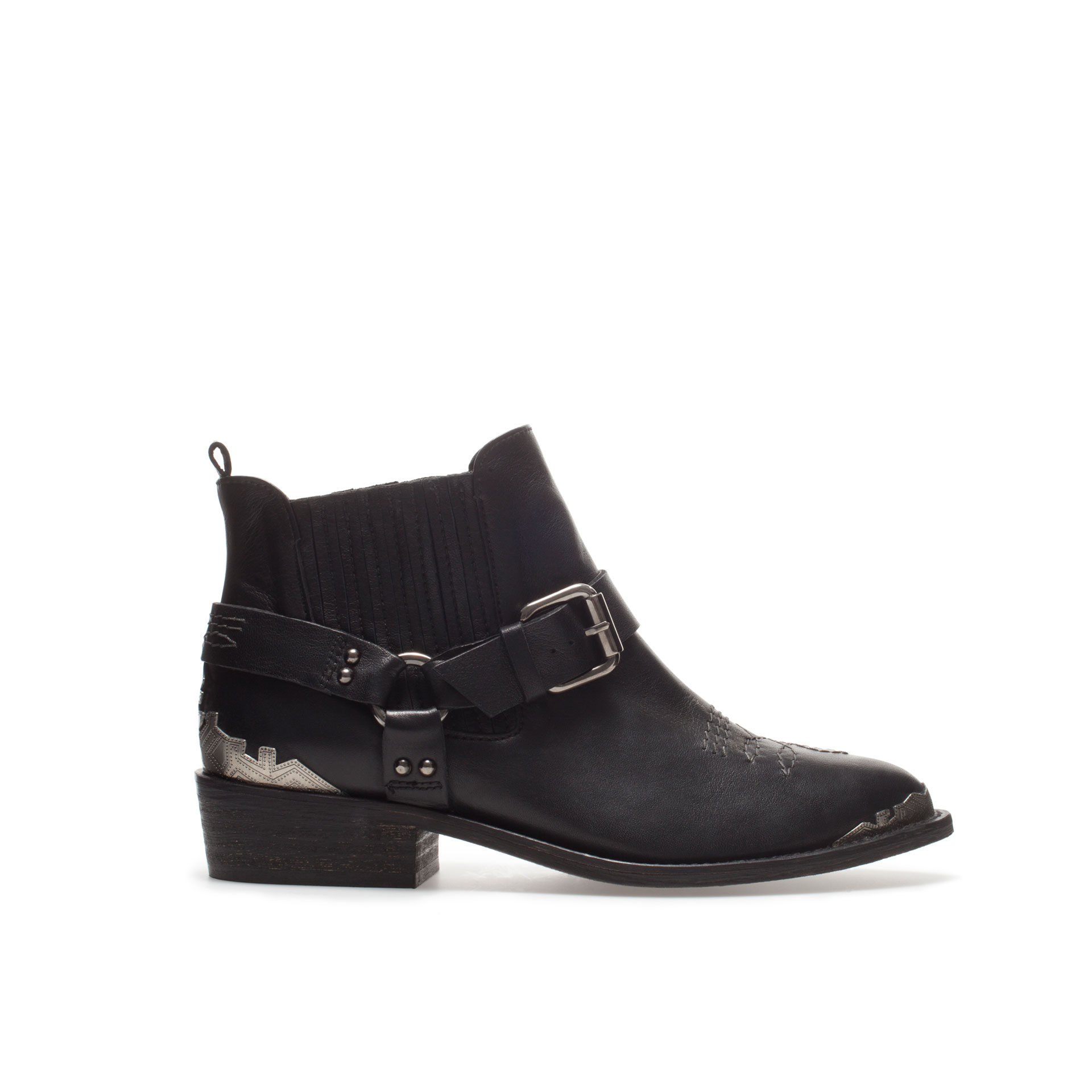 zara ankle boot with detail in black lyst