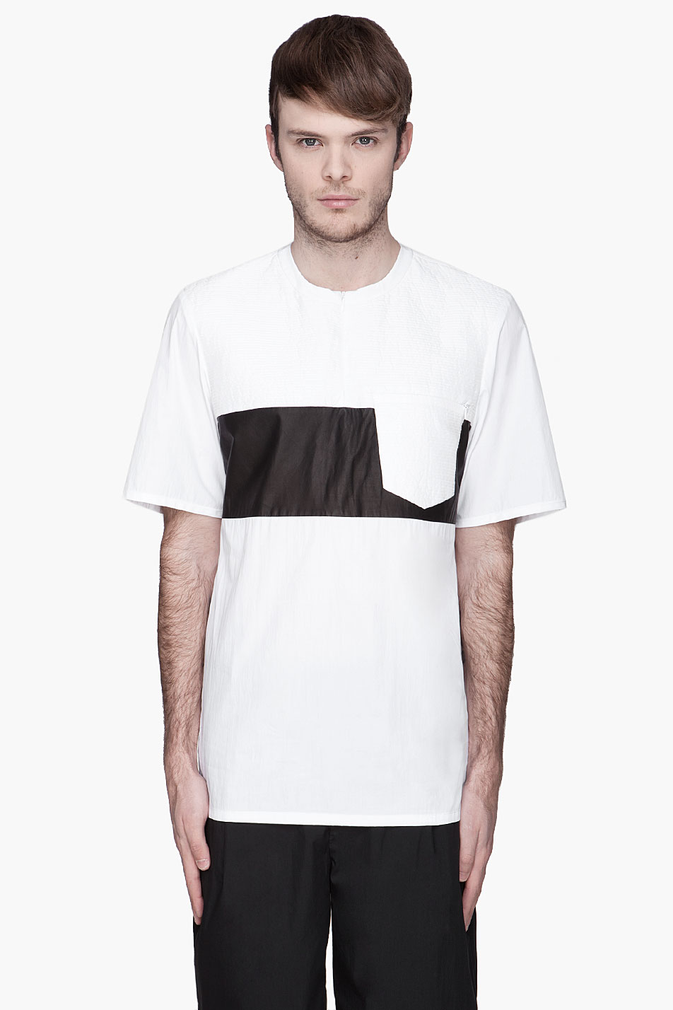 Alexander Wang Trapunto And Leather Contrast T Shirt In