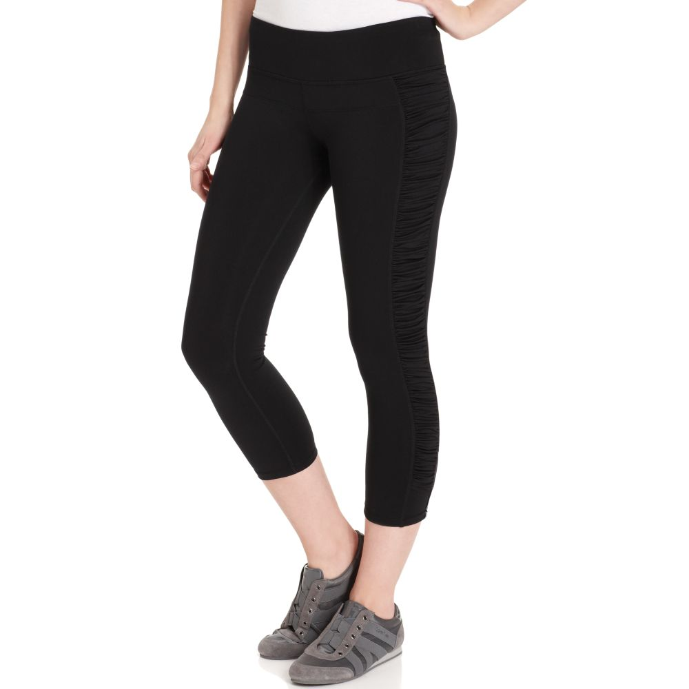 calvin klein ruched active capri leggings in black lyst. Black Bedroom Furniture Sets. Home Design Ideas