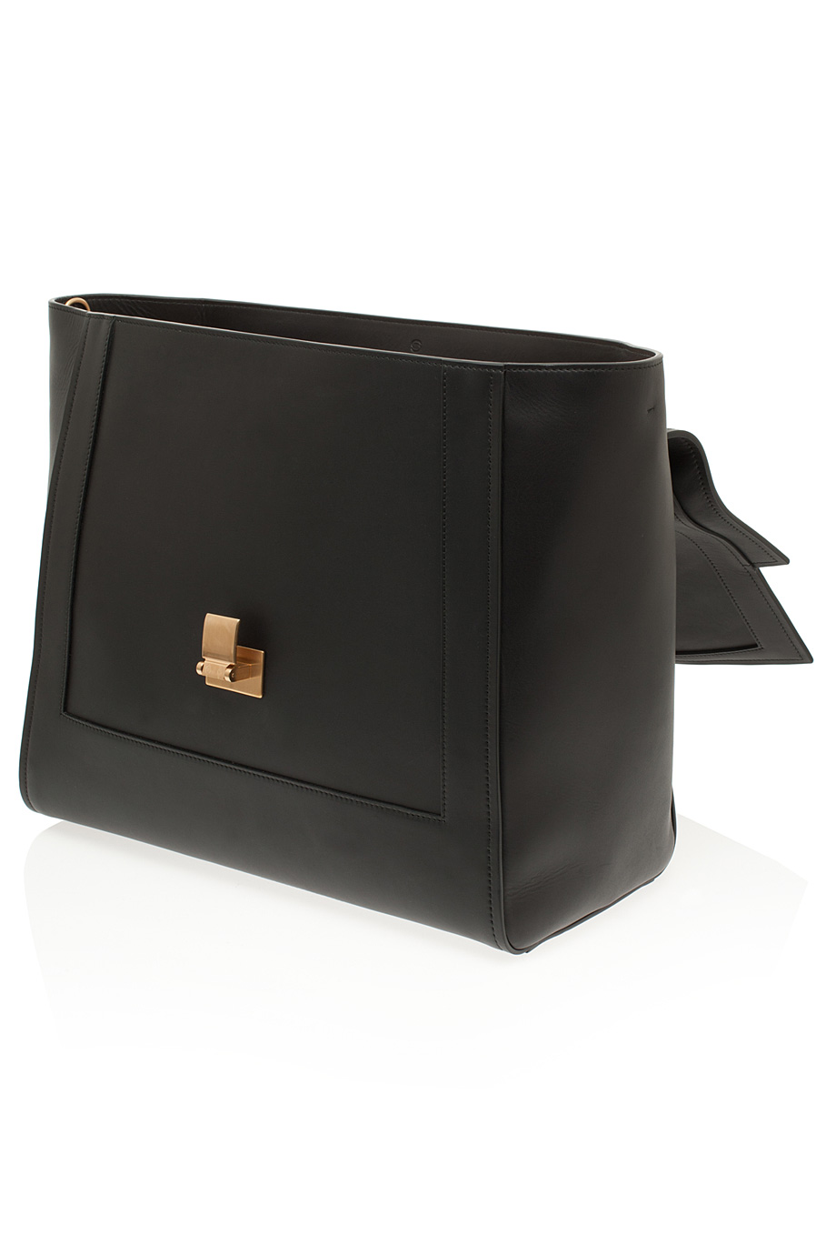 Elie saab Large Calfskin Metal Buckle Bag in Black | Lyst