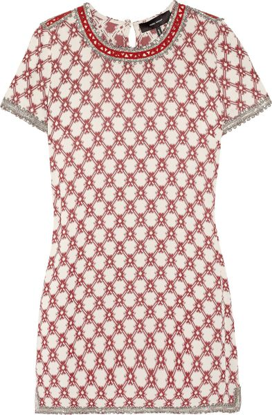 Isabel Marant Mallonia Beaded Crepe Mini Dress in White (off-white) - Lyst