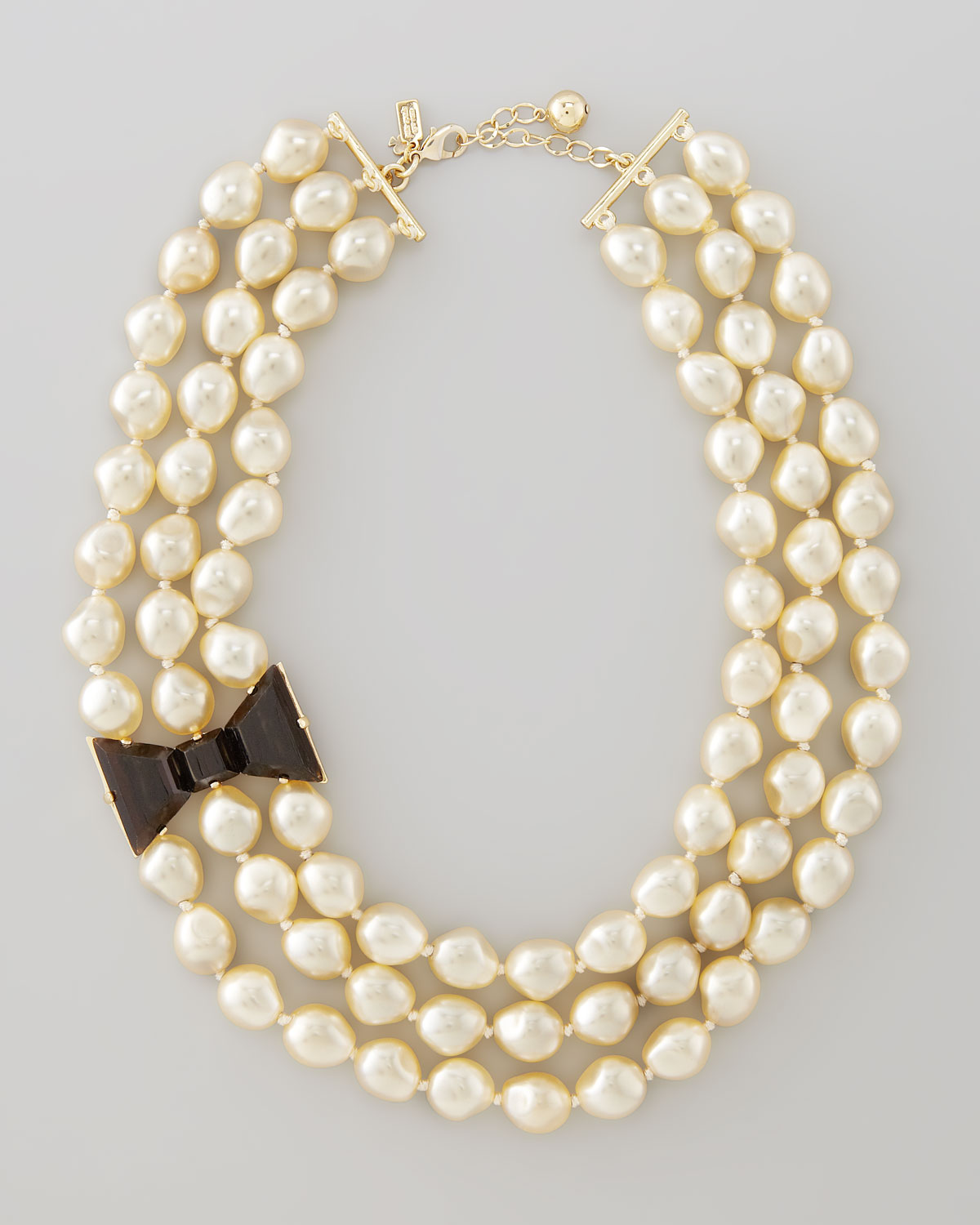 Kate Spade Bowdetailed Pearl Necklace In Black Lyst