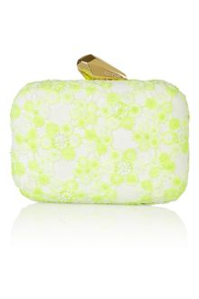 Kotur Morley Neon Lace and Faux Suede Box Clutch - Lyst