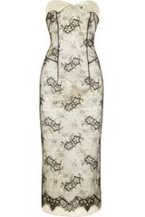 L'Wren Scott Strapless Satin and Lace Dress - Lyst