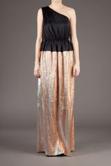 Maison Rabih Kayrouz Full Length BiColour Dress in Gold (copper) - Lyst