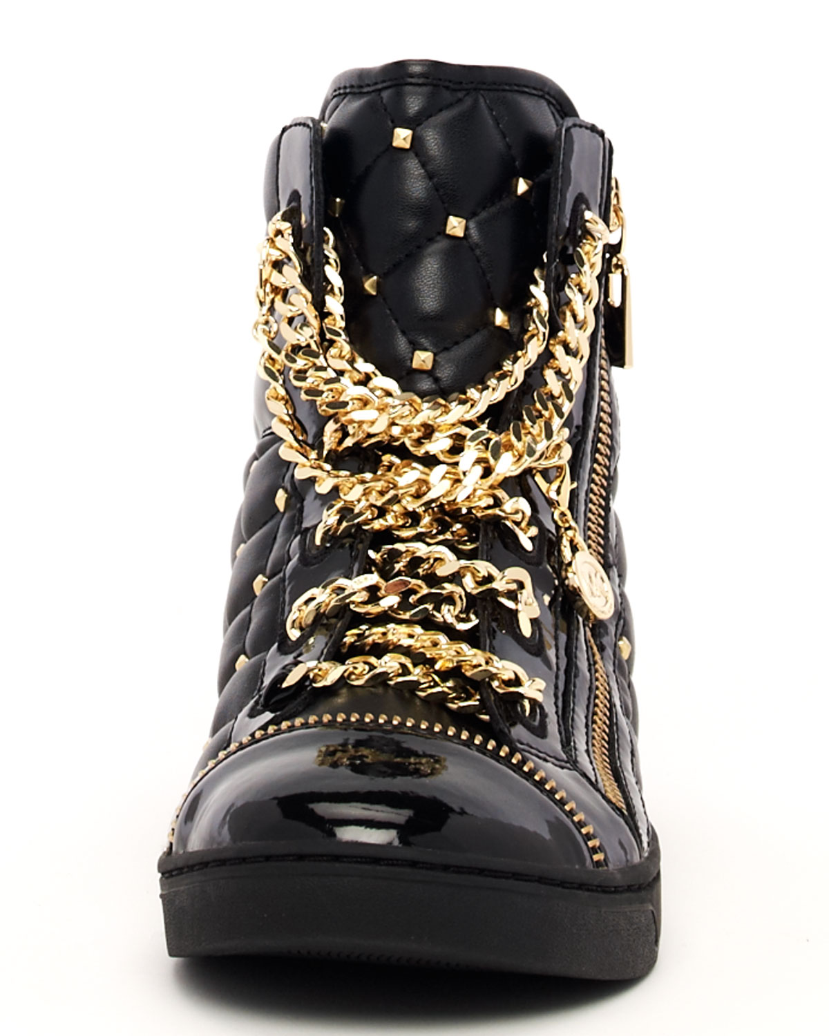 michael michael kors chainlace quilted hightop in metallic lyst. Black Bedroom Furniture Sets. Home Design Ideas