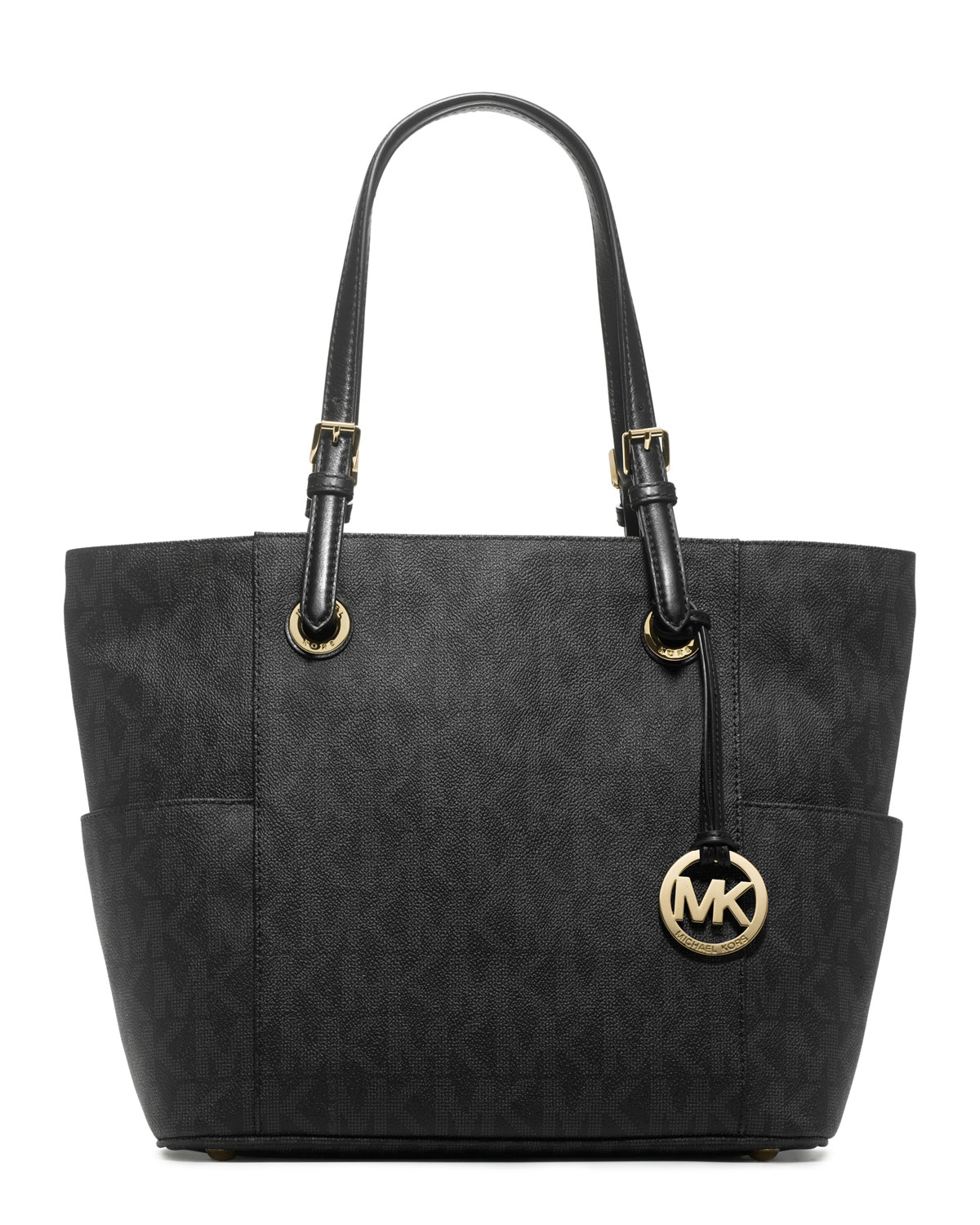 michael michael kors jet set signature logo tote in black. Black Bedroom Furniture Sets. Home Design Ideas
