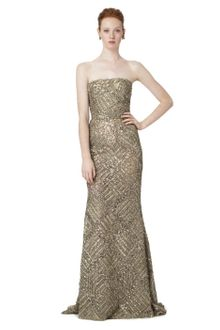 Oscar de la Renta Strapless Lame Embroidered Gown - Lyst