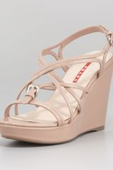 Prada Criss Cross Patent Leather Wedge Platform Sandal - Lyst