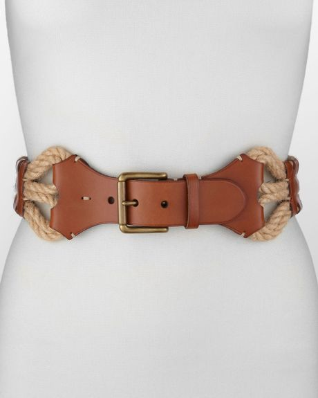 Ralph Lauren Leather with Wovenjute Belt in Brown (tan/natural) - Lyst