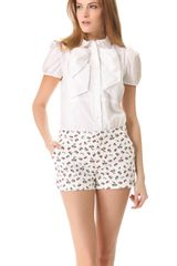 RED Valentino Poplin Bow Blouse - Lyst